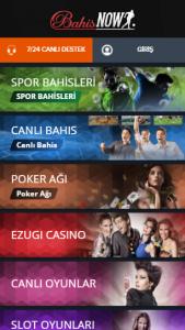 Bahisnow Mobil Casino